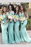 Modern Off the shoulder Mermaid Turquoise Long Bridesmaid Dress with Lace N786