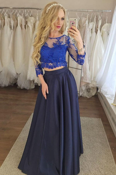 Two Piece Navy Blue Prom Dress with Lace, Cheap Prom Dress with Sleeves N1549