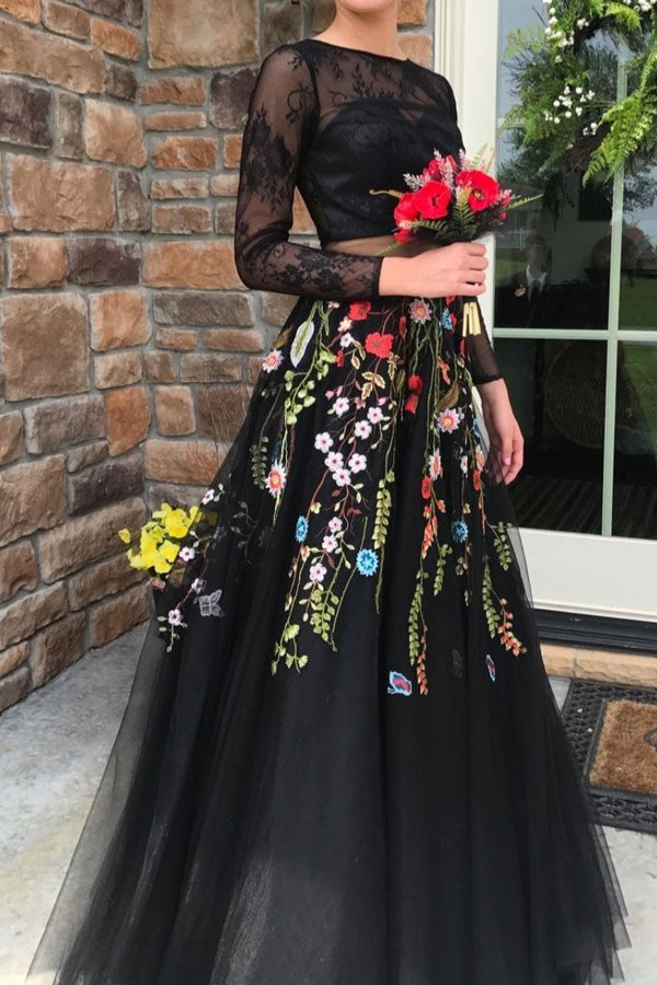 Two Piece Long Sleeves Black Lace Bodice Tulle Prom Dress with Appliques N1068