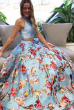 Two Piece Crew Open Back Sweep Train Light Blue Sleeveless Lace Prom Dress