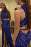Two Piece High Neck Royal Blue Lace Prom Dress with Slit,Gorgeous Sleeveless Lace Evening Dress N812