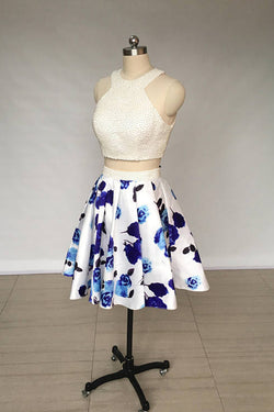 Two Piece Ivory Jewel Floral Print Satin Short Homecoming Dress with Pearls