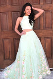 Elegant Two Piece Mint Green Jewel Sleeveless A-line Floral Long Prom Dress,N575