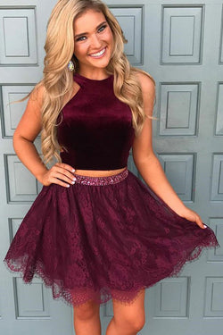 Two Piece Crew Short Burgundy Sleeveless Lace Homecoming Dress with Beading