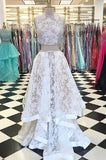 Two Piece Jewel Sleeveless White Lace Long Prom Dress,Cheap New Prom Gown,N646