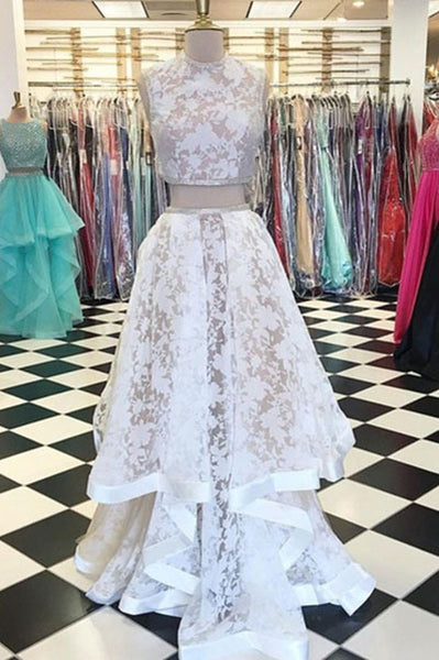 Two Piece Jewel Sleeveless Lace Long Prom Dress,Cheap New Prom Gown ...