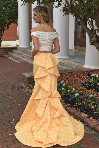 Sexy Two Piece Off the Shoulder White and Yellow Polkdots Mermaid Prom Dress,N578