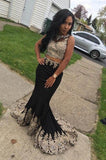 Black Two Piece Sleeveless Mermaid Long Prom Dresses with Lace Appliques,N708