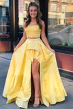 Two Pieces High Low Lace Yellow Prom Dresses, Two Piece Long Formal Dresses N1688