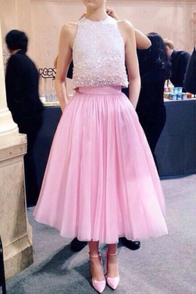 Two Piece Pink Jewel Tulle Tea Length Homecoming Dress, A Line Sleeveless Tulle Dress N1915