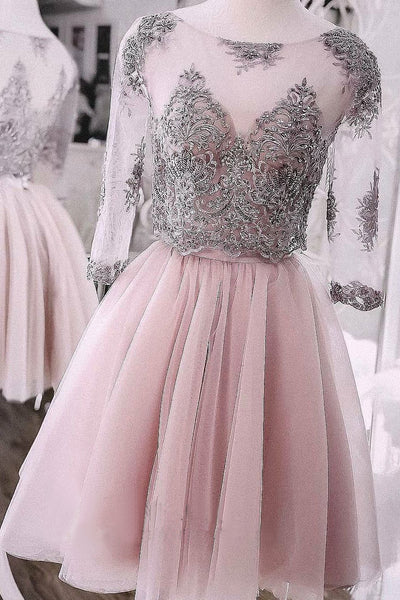 Two Pieces Short Prom Dress Cute Lace Homecoming Dress Tulle Cocktail Dresses N1846