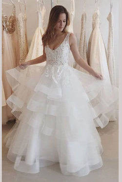 Charming Ivory U Neck Appliques Tulle Wedding Dress,Sleeveless Layers Bridal Dress,N685