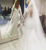 Long Sleeves V-neck Sheer Back Mermaid Wedding Dress,Bridal Dresses(without veil),N545