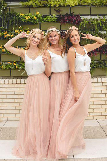 A-line V-neck Floor-length Sleeveless Tulle Bridesmaid Dress,New Prom Dress,N616