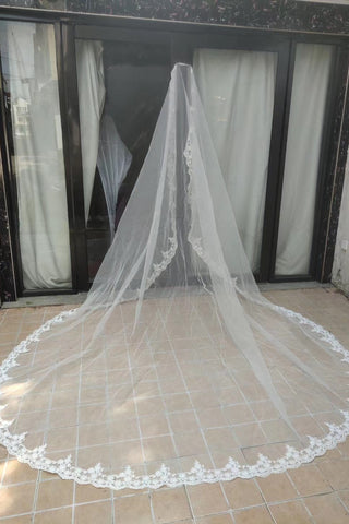 Simple Long 3M Lace Edge Tulle Wedding Veils Bridal Veil V0052