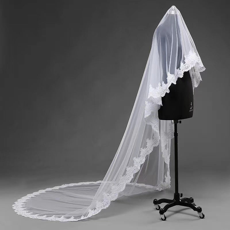 Charming 3M Long Ivory One Layer Wedding Veils With Lace Appliques V050