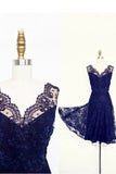 Vintage Short Lace Royal Blue Bridesmaid Dresses,V-neck Sleeveless Wedding Party Dress,N261
