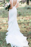 V Neck Backless Mermaid White Wedding Dresses Long Simple Bridal Dresses N2023
