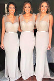 Cheap V Neck Mermaid Long Bridesmaid Dresses with Belt, Unique Mermaid Bridesmaid Dress N933
