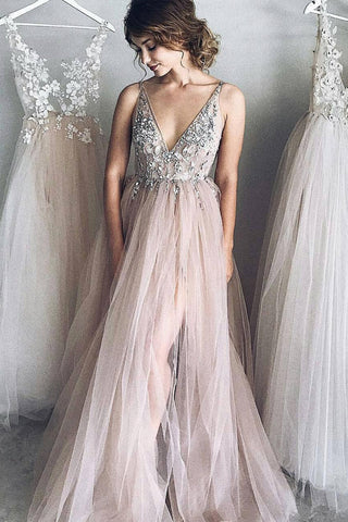 49557a6b6 A-line V neck Long Tulle Appliques Prom Dresses with Beads,Party Dress –  Simibridaldress