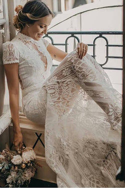 Vintage High Neck Lace Wedding Dress with Short Sleeves, See Through Bridal Dresses N1786