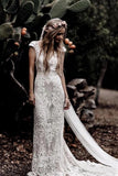 Vintage Lace V Neck Rustic Wedding Dresses Cap Sleeve Ivory Sheath Beach Wedding Gowns N2006