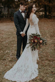 Vintage Long Sleeves Lace Wedding Dresses Backless Rustic Lace Wedding Dresses N2262