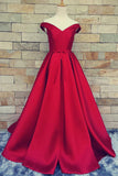 Charming A Line Satin Off-the-Shoulder Prom Dress With Belt N22
