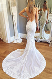 Straps Mermaid Deep V-neck Sleeveless Backless Tulle Beach Wedding Dress with Lace,N526