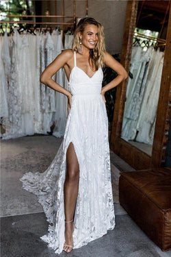 A Line White Straps Long Split V Neck Lace Beach Wedding Dress, Lace Bridal Dress