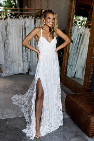71ae3796503 A Line White Straps Long Split V Neck Lace Beach Wedding Dress, Lace Bridal  Dress