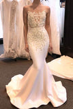 New-Arrival Sheer Neck Sleeveless Court Train Satin Mermaid Wedding Dresses,N521