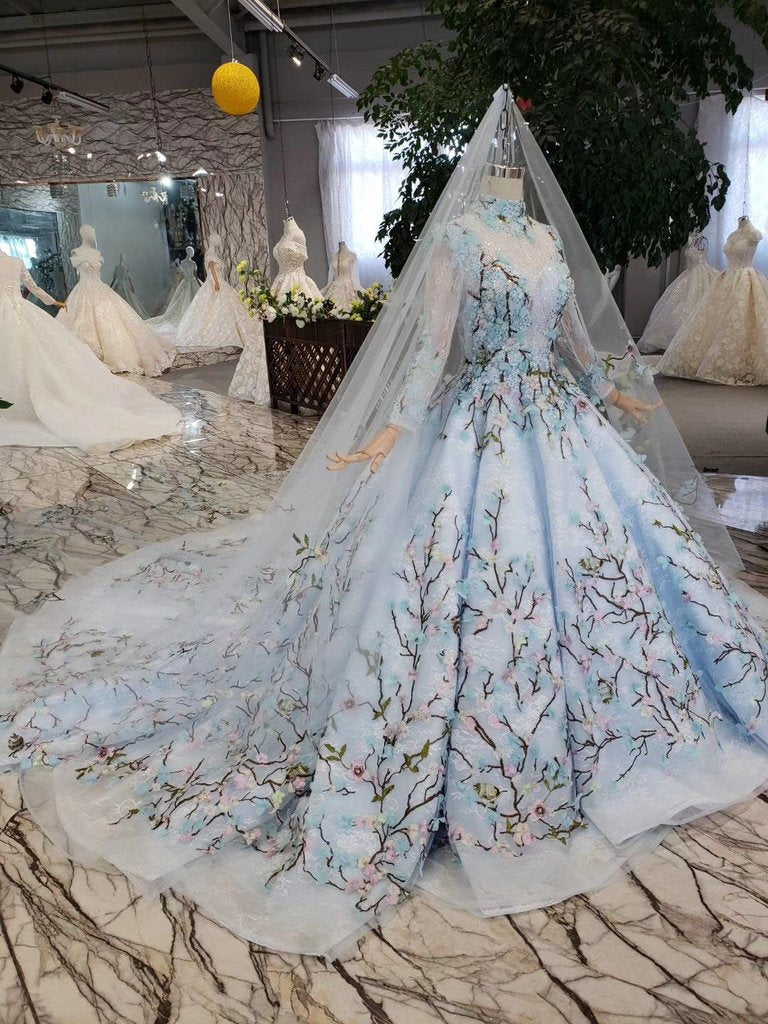 Light Blue Ball Gown Wedding Dresses with Lace Flowers, Beading Quinceanera Dresses N1628