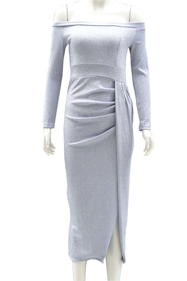 Simple Half Sleeves Fashion Gray Prom Dresses Casual Dress Y0009