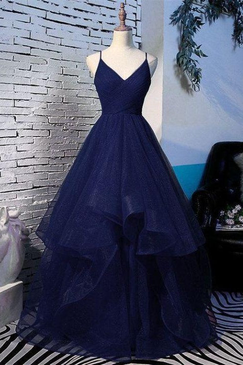 Beautiful Spaghetti Straps V-neck Princess Prom Dresses For Teens Y0010