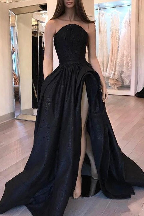 New Arrival Simple Black Strapless Prom Dresses Modest Evening Dresses Y0011