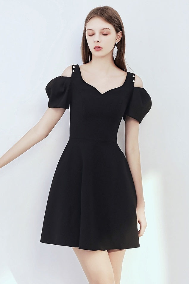 Simple Style Black Short Prom Dresses Vintage Cute Homecoming Dress Y0013