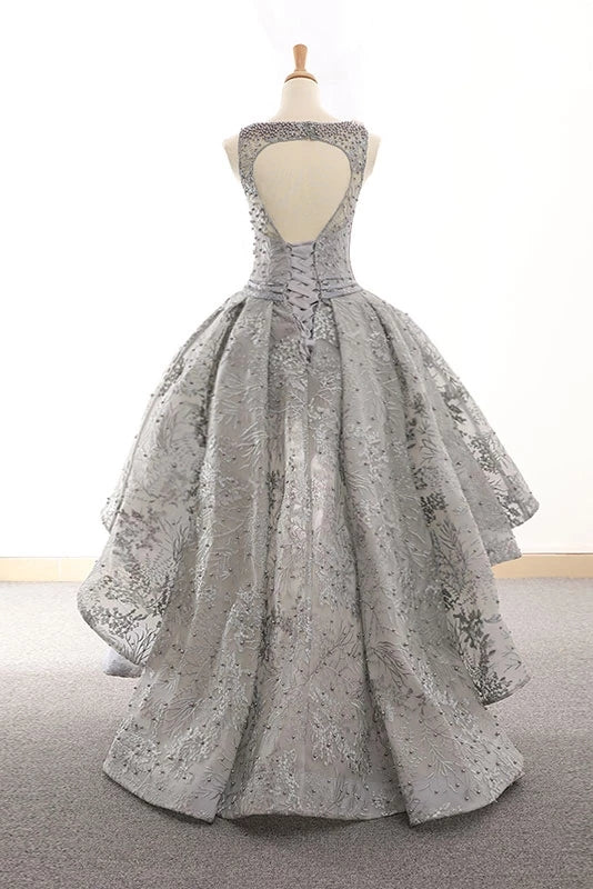 Silver Gray High Low Lac Beading Open Back Prom Dress Homecoming Dresses Y0015