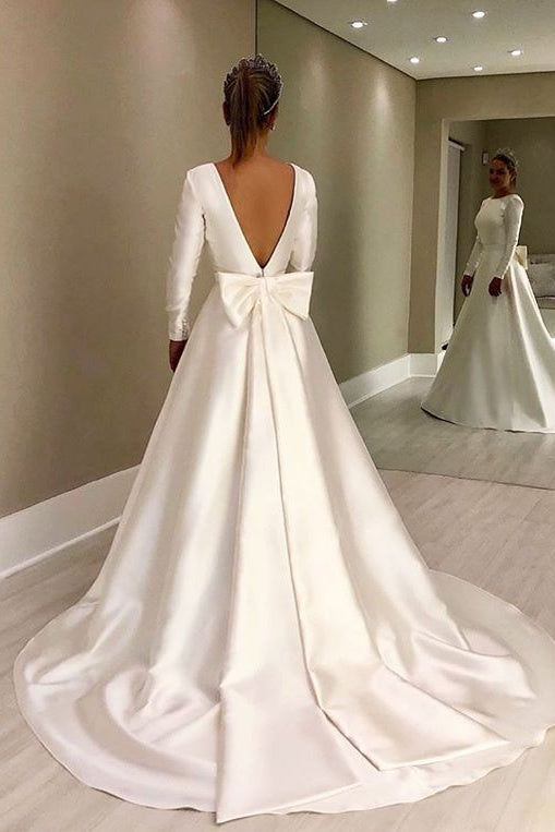 Vintage Long Sleeves Ivory Backless Simple Style Wedding Dresses With Bowknot Y0021