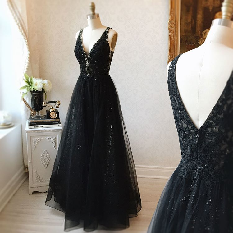 V-neck Black Floor Length Long Prom Dresses Modest Party Gowns Y0024
