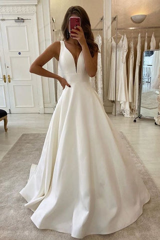 New Arrival V-neck Ivory Simple A-line Prom Dresses Beach Wedding Dresses Y0025