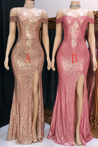 Glitter Off The Shoulder Front Split Long Party Dresses Simple Prom Dress Y0027