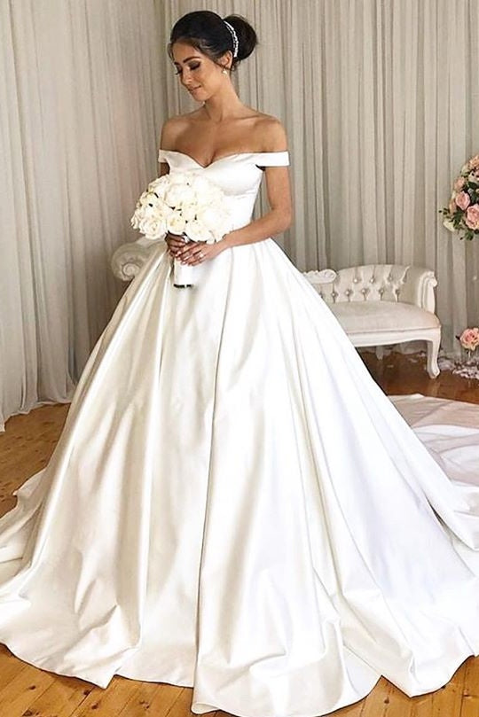 Charming Simple Style Satin Ball Gown Wedding Dresses Modest Bridal Dress Y0028