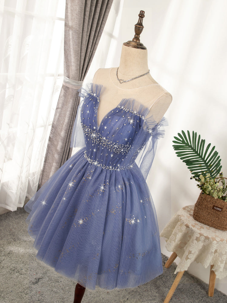 Flowy Cute A-line Blue Homecoming Dresses Short Beading Prom Dress Y0029