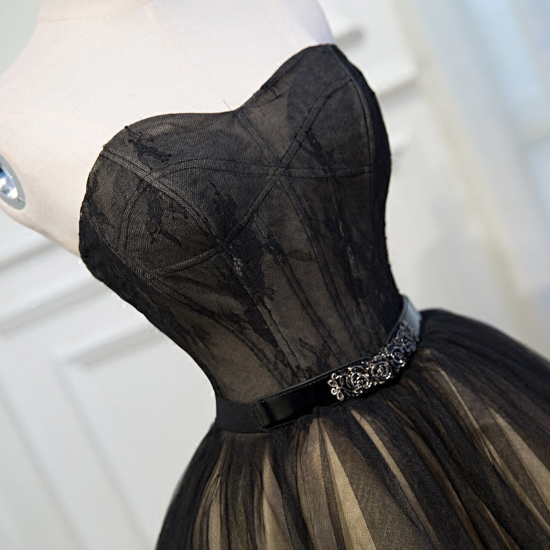 Black Lace Tulle Simple Homecoming Dresses Pretty Short Party Dresses Y0032