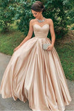 Chic Sweetheart Simple Long A-line Prom Dresses Modest Women Dress Y0038