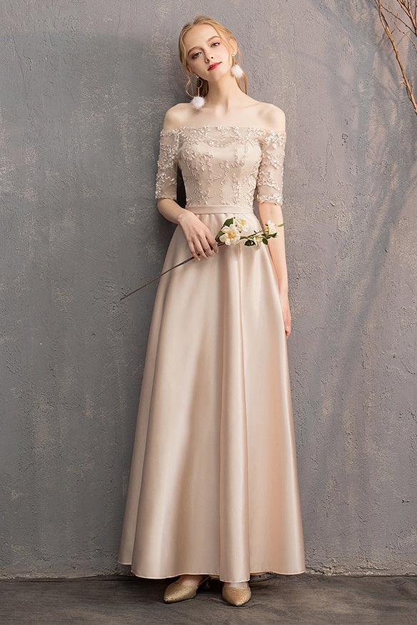 Off The Shoulder ELegant Long Prom Dresses With Sleeves Bridesmaid Dress Y0039