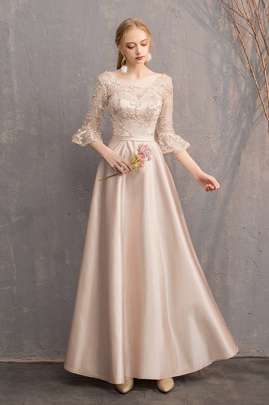 Newest Lace Up Back Long A-line Prom Dresses Simple Bridesmaid Dress Y0041