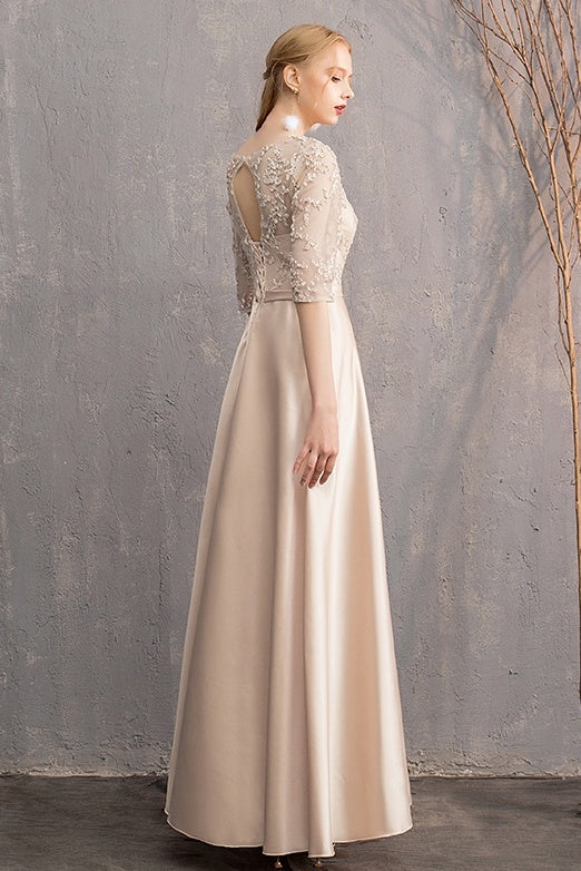 Lovely Charming Half Sleeves Long A-line Prom Dresses Chic Bridesmaid Gowns Y0042