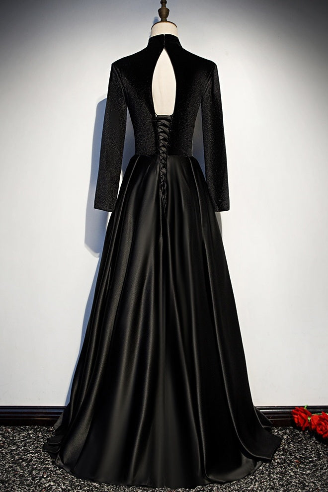 Newest Simple Style Long Sleeves High Neck Black Prom Dresses Women Dresses Y0043